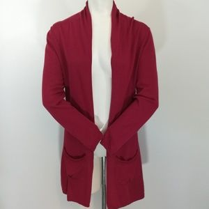 Haiku Open Front Cardigan Size S Bamboo Red